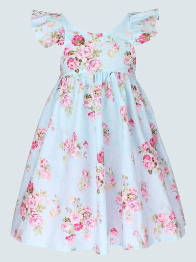 Girls Floral Print Flutter Sleeve Casual Dress - Blue / 2T - Girls Spring Casual Dress