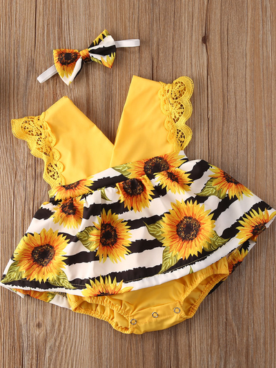 Baby yellow romper onesie with a skirt overlay with sunflower print and matching headband
