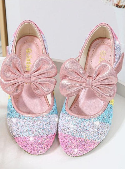 Girls Leather Glitter Heeled Bow Flats By Liv and Mia