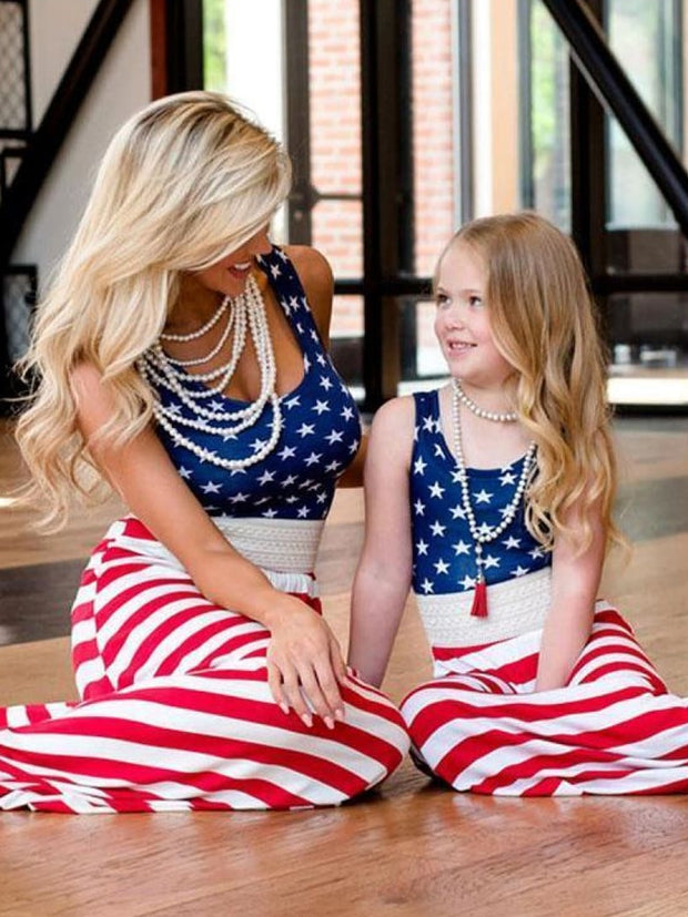 Mommy & Me Matching American Flag Maxi Dress