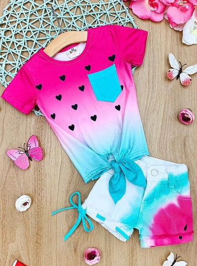Girls watermelon-themed heart print, ombre top with a pocket and knot that ties at the hem with matching denim shorts