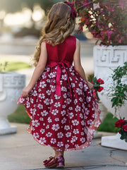 Girls Sleeveless Hi-Low Floral Holiday Dress