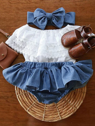 Baby set features a ruffled top with crocheted bib and denim skirted bloomers with a headband