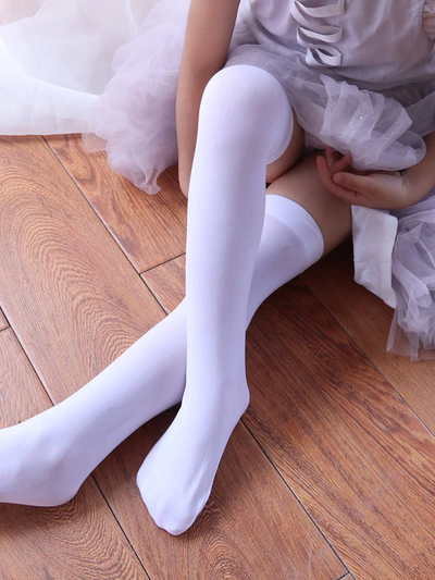 Girls Solid White Knee High Socks