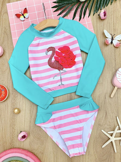 Girls Flamingo Striped Rash Guard Two Piece Swimsuit