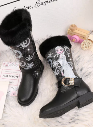 Girls Glitter Faux Fur Winter Knee Boots By Liv and Mia