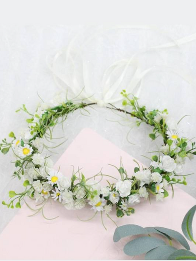 Girls White Midsummer Vibes Flower Halo