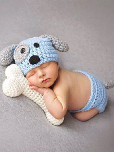 Baby knitted photoshoot costume - blue dog