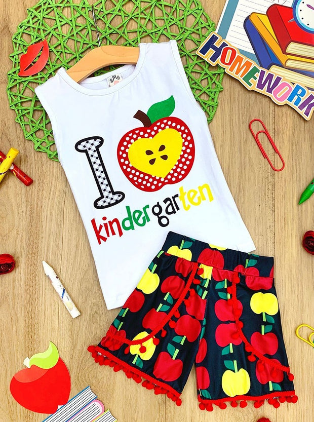 "Girls 1st Day of School Sleeveless ""I Love Kindergarten"" Top & Apple Print Pom Pom Shorts Set"