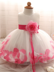 Baby Dress with Flower pedal hem and belt with flower applique pink