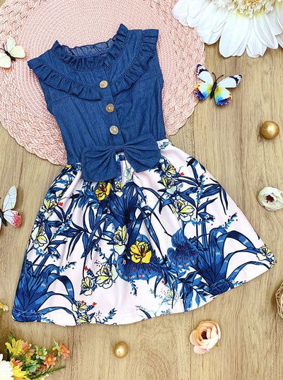Girls Ruffled Denim Floral Dress