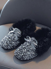 Girls Cozy Glitter Faux Fur Moccasin Loafers By Liv and Mia