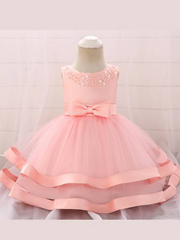 Baby dress features beautiful beads on the bodice, voile with satin hem-pink