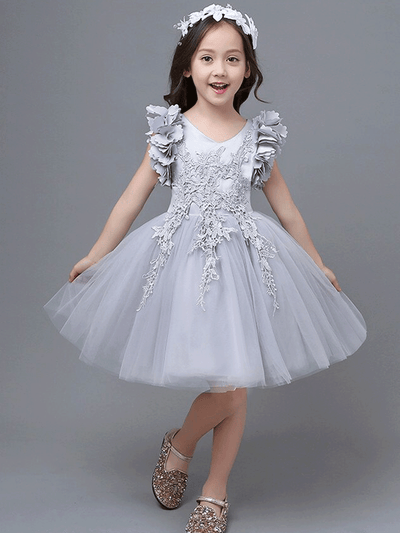 Girls Petal Sleeve Party Dress with Hanging Lace (Grey & Pink)