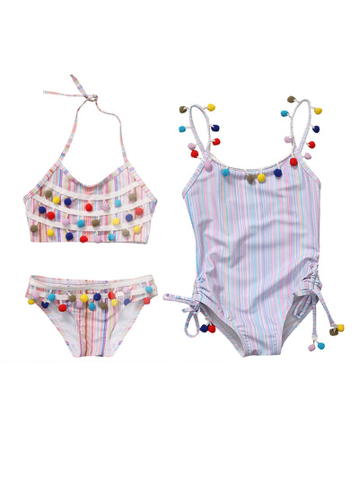 Girls Striped Multicolor Swimsuit with Pom Poms (2 Style Options)