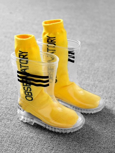 Girls Clear Striped Non-Slip Rain Boots By Liv and Mia