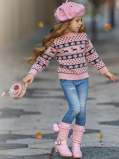 Girls Snowflake and Reindeer Heart Fuzzy Sweater