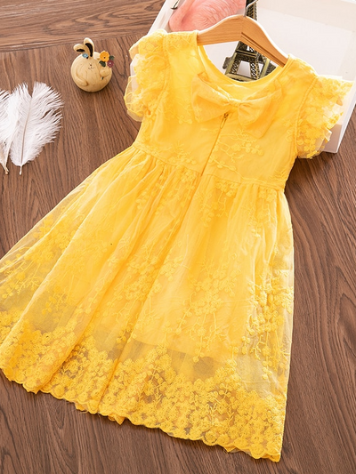 Girls Ruffle Lace Floral Bow Dress