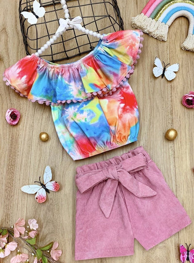 Girls Tie Dye Vibes Ruffled Top & High Waist Shorts Set