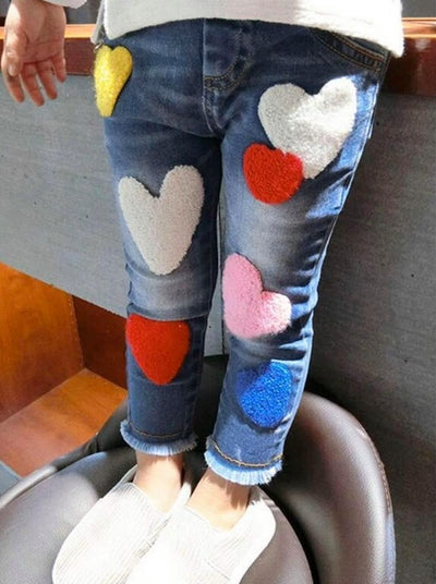 Girls Got Enough Love Denim Jeans with Frayed Hem