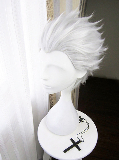 Girls Tiny Trolls Silvery White Slicked Back Hair Wig