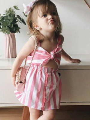 Mommy and Me Pink Striped Bow Dress