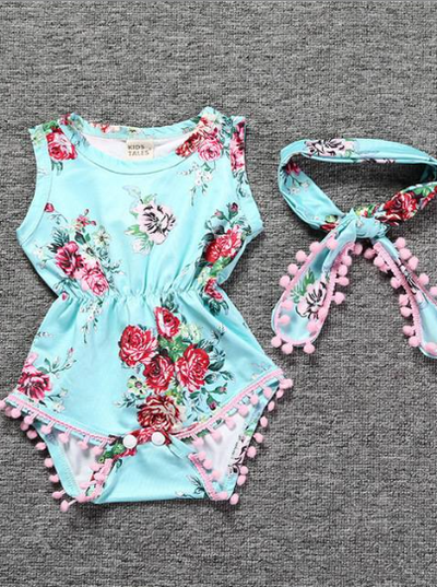 Baby Spring  floral onesie with pom pom hem and matching headband light blue