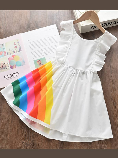 girls Spring Rainbow Dress with Blue bow on back