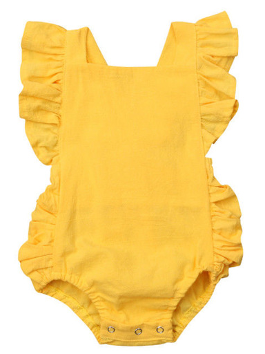 Baby onesie has cute little shoulder ruffles and ruffles on the side. Overall style with strap closure at the back yellow