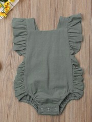 Baby onesie has cute little shoulder ruffles and ruffles on the side. Overall style with strap closure at the back Green