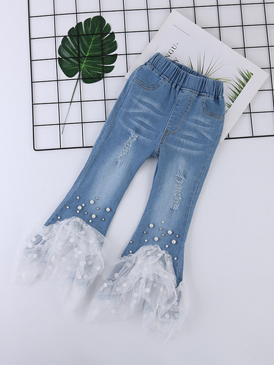 Girls Denim Mesh Polka Dot Pearl Jeans