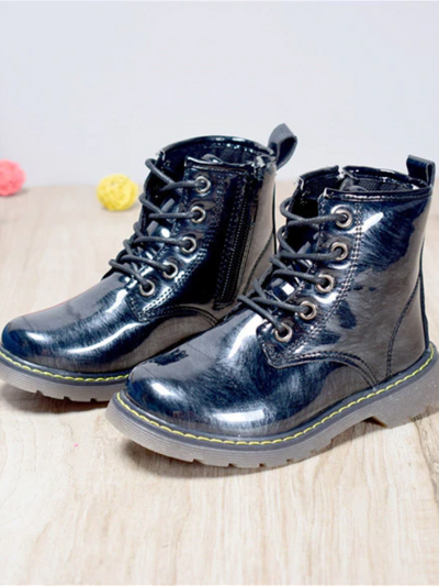 Girls Metallic Shiny Dr. Martens Inspired Combat Boots By Liv and Mia