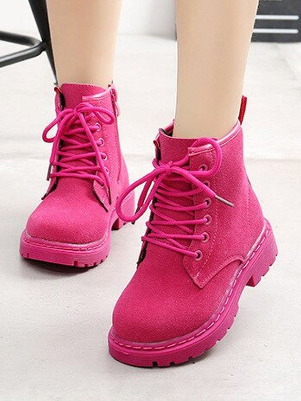 Girls Fall Suede Combat Ankle Boots (3 Color Options) By Liv and Mia