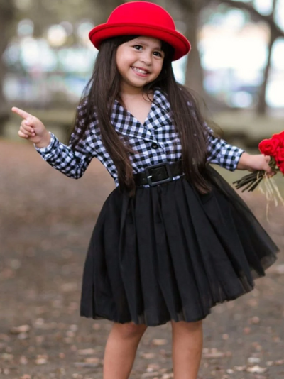 Girls Black/White Plaid Button Down Collar Tutu Dress with Faux Belt
