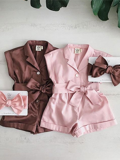Girls Turn-Down Collar Bow Romper