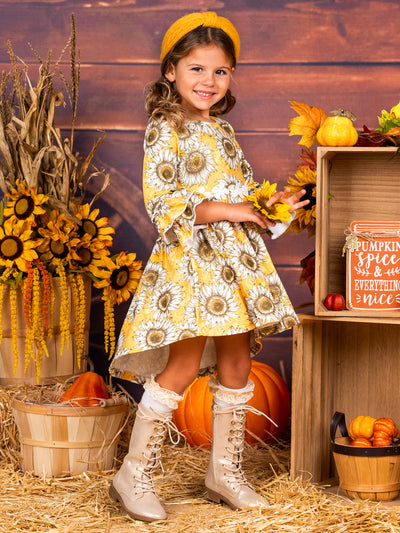 Girls Hi-Lo Ruffled Sleeve Printed Dress