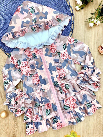 Girls Printed Zippered camo Ruffled Hoodie with roses