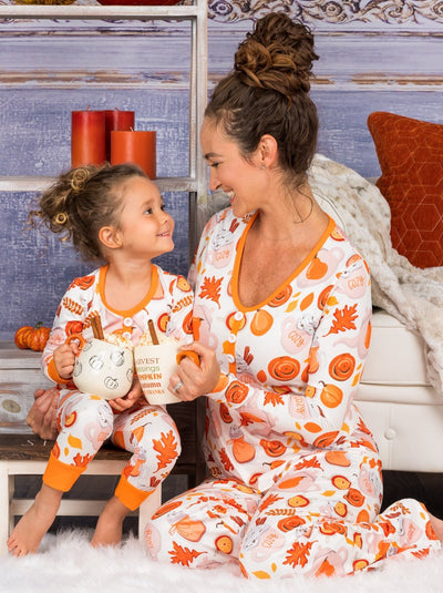Mommy & Me Long Sleeve Buttoned Pumpkin Spice Fall Print Pajama Set