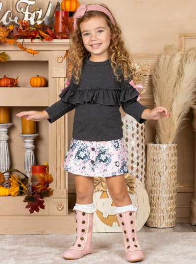 Girls Long Sleeve Ruffled Top & Printed Buttoned Skirt Set grey