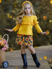 Girls Long Sleeve Ruffled Top & Printed Buttoned Skirt Set yellow