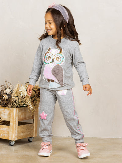 Girls Sequin Plush Owl Applique Sweatshirt and Jogger Set