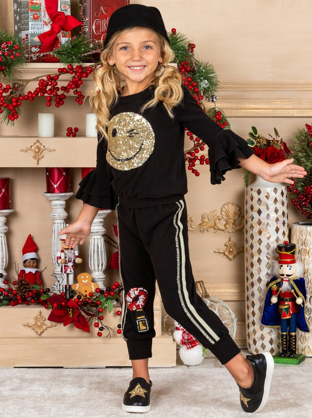Girls gold Sequin Winky Face Ruffle Sleeve black Pullover Sweatshirt and Jogger Set