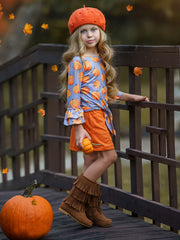 Girls Double Ruffled Grey Sleeve Top & Orange Buttoned Skirt Set