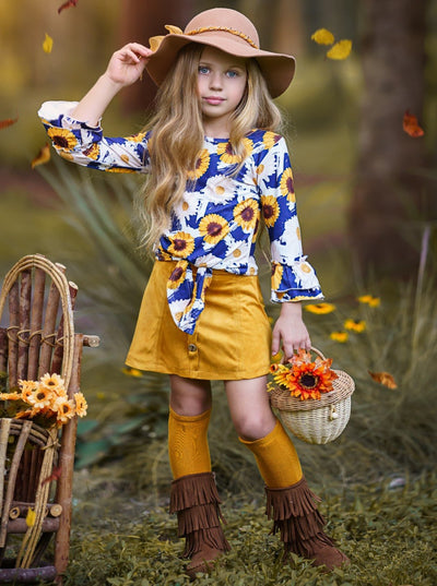 Girls Floral Double Ruffled Sleeve Top & Buttoned Skirt Set yellow