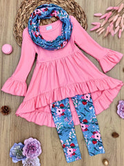 Girls Hi-Lo Ruffled Tunic, Floral Leggings and Scarf Set pink 2T-10Y