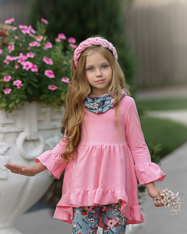 Girls Hi-Lo Ruffled Tunic, Floral Leggings and Scarf Set