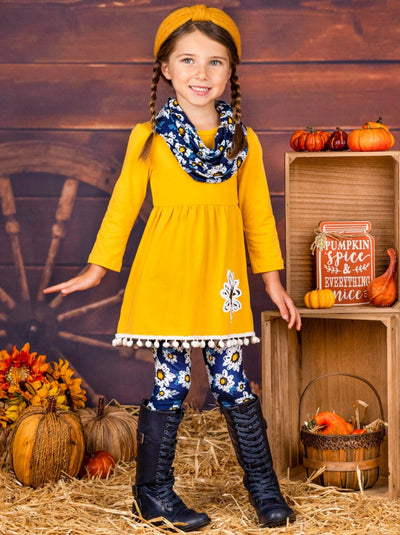 Girls Pom Pom Tunic, Printed Leggings and Scarf Set