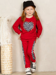 Girls Leopard Heart Applique Sweatshirt and Jogger Set