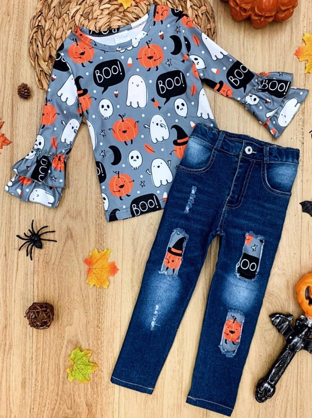 Girls Pumpkin Print Ruffled Top and Patched Jeans Set