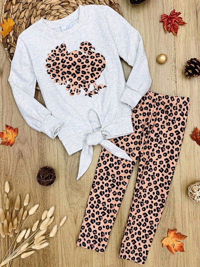 Girls Tie Knot Pullover Sweatshirt and Leopard Print Leggings Set